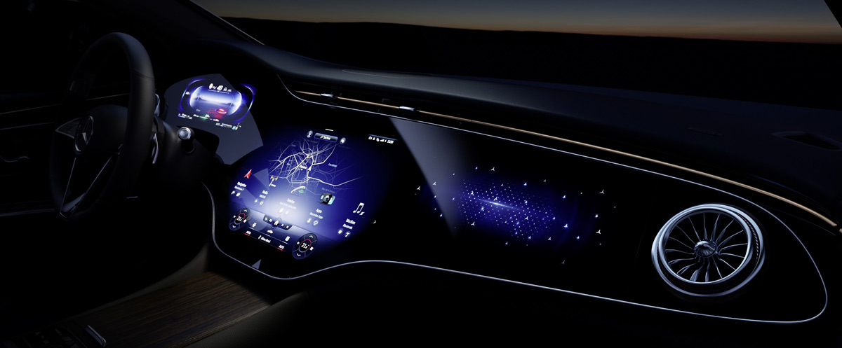 Dettaglio Hyperscreen Mercedes EQS