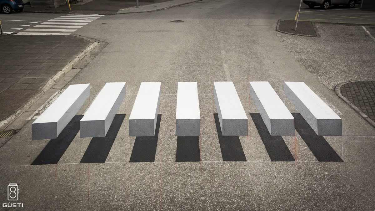 L'effetto ottico delle strisce pedonali 3D