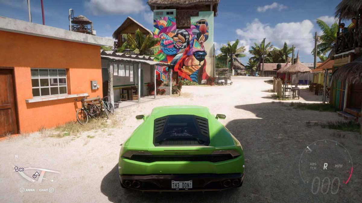 Schermata di gioco Forza Horizon 5 con Lamborghini Huracan LP610-4