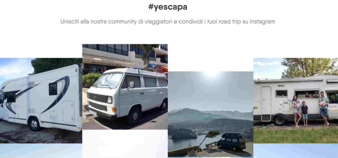 Schermata sito web Yescapa