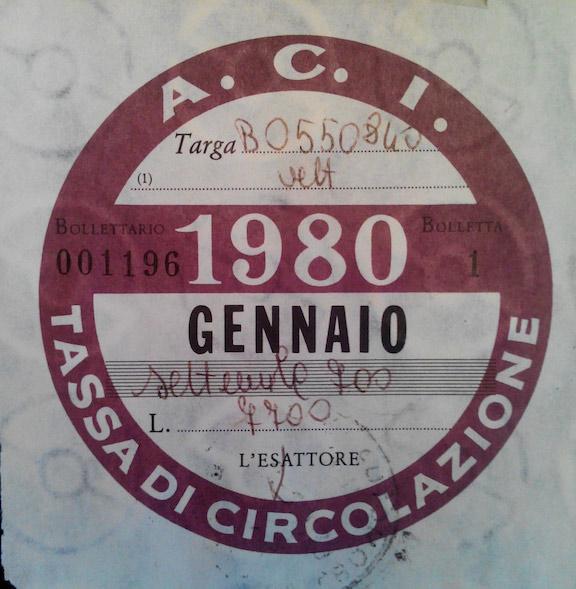 Bollo Auto 1980
